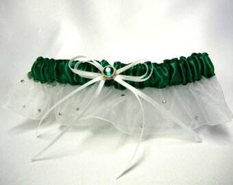 Emerald green garter with Swarovski crystals