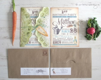 Peter Rabbit invitations - baby shower/birthday - vintage appearance- set of 10 - Lettuce and Graphic