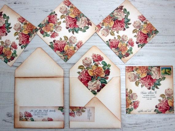 Boho Chic Wedding Invitations: Items Similar To Vintage Wedding Invitation