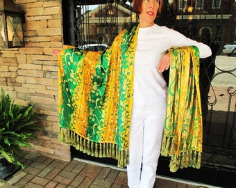 Chinese Silk Shawl- Green and Yellow with 66 Luxurious Tassels by the Old Silk Route