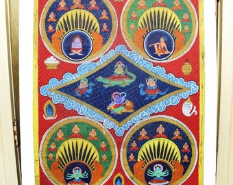 """Buddhist Thangka, Tangka Painting with Four Tantric Mandalas, Vintage, 26""""x 33'inches"""