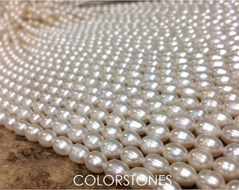 AA Grade 6 to 7 mm Freshwater Pearl Rice Beads - White - Full Strand (G3531W35Q4)