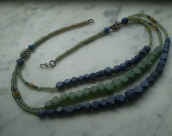 SALE Raw Lapis and Green Stone Necklace