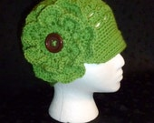 Eyelet Cloche/Newsboy Hat - Hand Crocheted in Fern Green with Flower