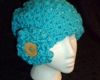 Charleston Cloche in Turquoise Blue - Hand Crocheted