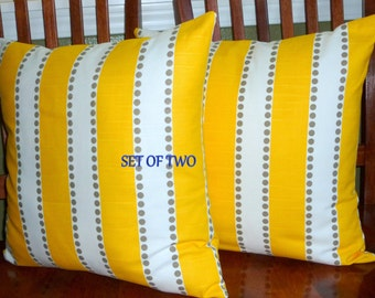 Decorative Pillows, Accent Pillows,Throw Pillowa, Pillow Covers - Two 18inch Yellow and White Stripe