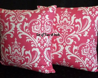 Decorative Throw Pillow Covers -  Hot Pink and White  - Set of Two 18 Inch