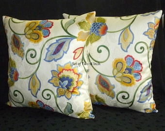 Decorative Accent Pillow Covers - Set of Two 18 Inch - Floral Cream