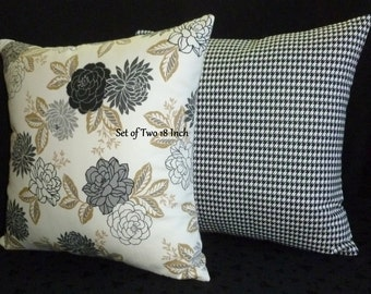 Decorative Accent Throw Pillow Covers - Two 18inch Black, Grey and White