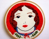 SALE Little Red Riding Hood Handmade OOAK Embroidered Wall Art In Red, Blue, Green Etc.