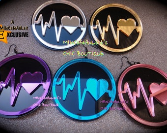 MARKDOWN Mirror Laser Cut  Acrylic Disc Earrings - LOVESICK