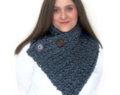 Somerset County Cowl Reversible Scarflette with Super Chunky Charcoal Yarn or Pick your Color and Dark Brown Pattern Buttons: