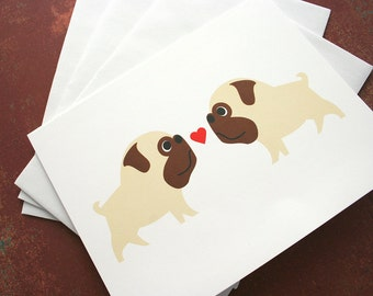 Valentine's pug love note card set. (set of 6) Blank for own personal message.