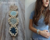 The Mini Doilies Bracelet - Mini Crochet Collection, mini crocheted bracelet, bohemian bracelet, tiny crocheted doilies