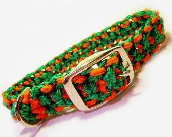Green and Orange Medium Dog Macramé Collar