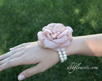 Dusty Pink Fabric Flower Bridesmaid Corsage Bracelet