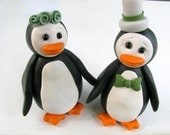 Penguin wedding cake topper, bride and groom, polymer clay