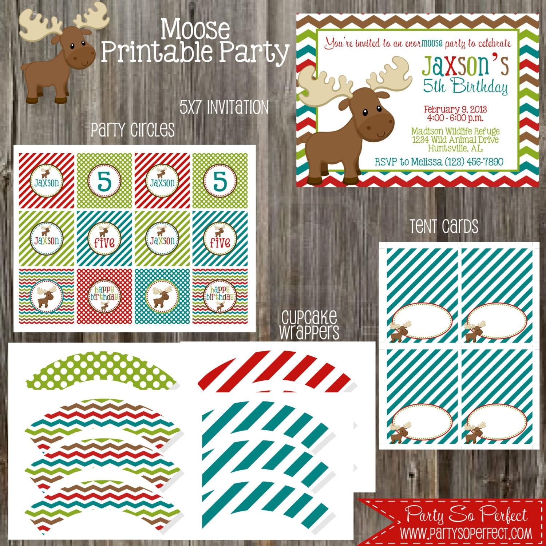 Moose Birthday Party Package Boy DIY Printable