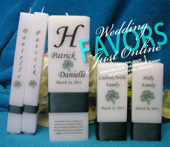 unity candle complete set square personalized with monogram