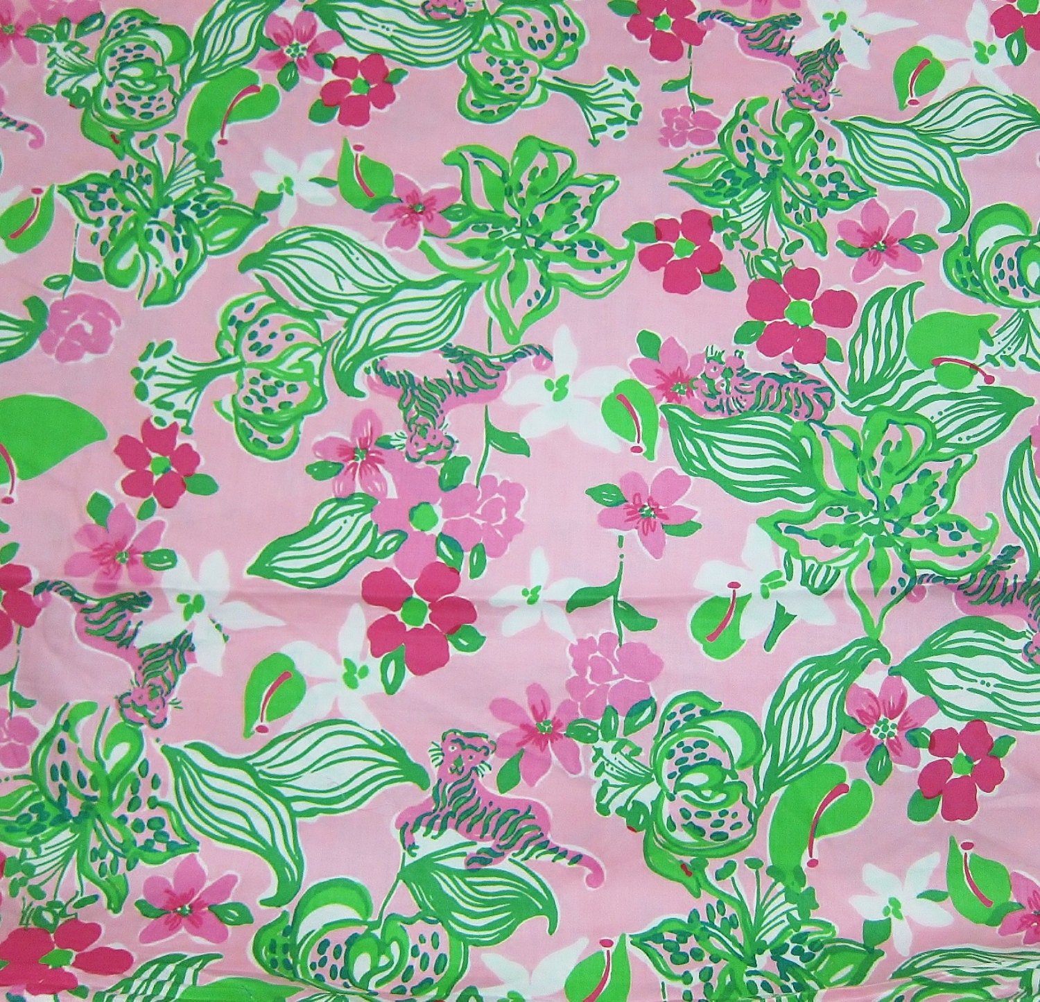 New Lilly Pulitzer Fabric Pink Amp Green Tiger 1
