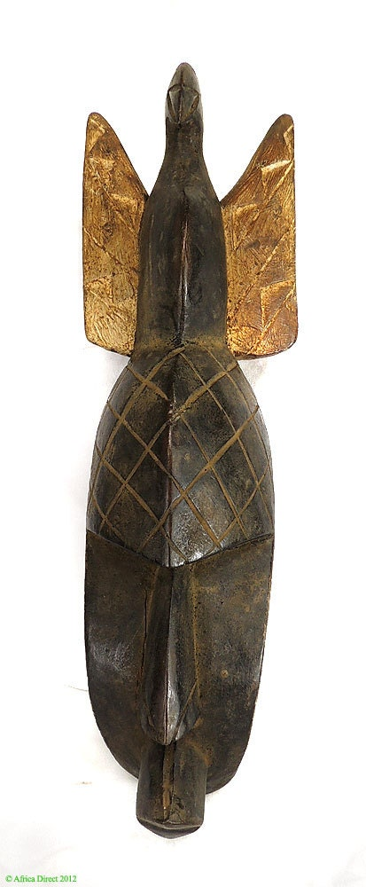 African Masks Baule Portrait Mask With Stylized Bird On