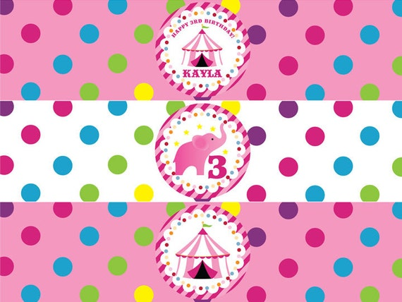Circus Water Bottle Labels in Pink