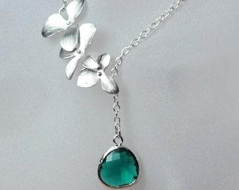 bridemaid necklace , Emerald lariat necklace , orchid drop necklace , green orchid necklace