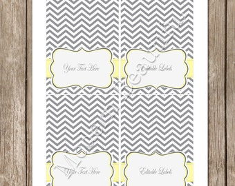 INSTANT DOWNLOAD Editable Grey and Yellow Chevron  Party Printable Table Food Labels