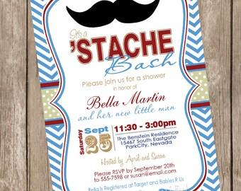 Chevron Stache Bash Baby Shower Invitation moustache, little man invitation, mustache, blue, maroon