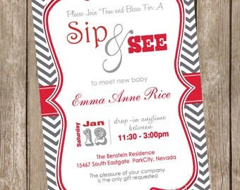 Neutral sip and see baby shower invitation, red and grey, chevron sip and see invitation, digital, printable 20121228-K1-1C