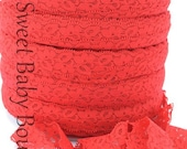 """1"""" Lace Elastic 5 Yards Red"""