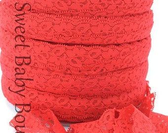 "1"" Lace Elastic 5 Yards Red"