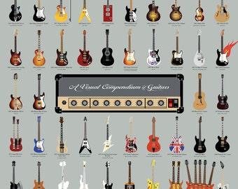 A Visual Compendium of Guitars Poster (18 x 24 Print)