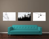 Ski Decor Set, Ski Lift Art Print Set of 3 Landscape Photographs, Ski Lift Prints, Black and white, Winterscape Wall Art, Mt Hood Picture