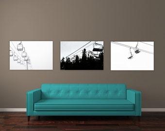 Ski Decor Set, Ski Lift Art Print Set of 3 Landscape Photographs, Ski Lift Prints, Black and white, Winterscape Wall Art, Mt Hood Picture