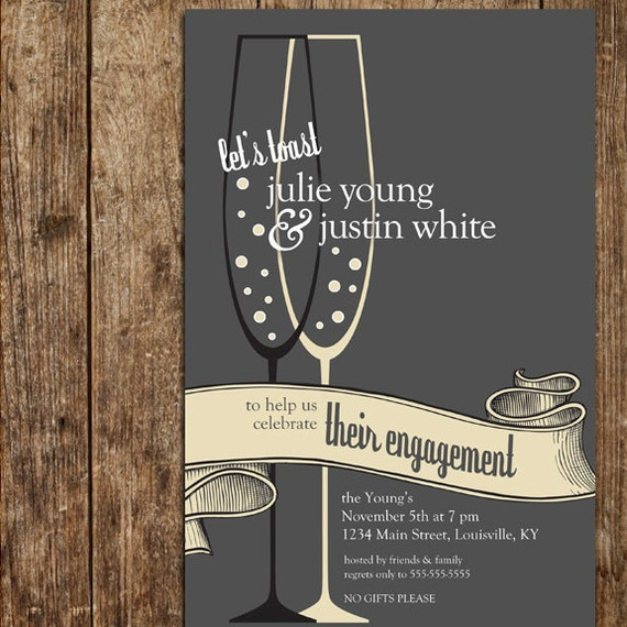 Toast to Your Engagement party invitations