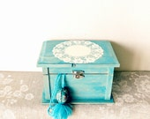 Desert Turquoise Jewelry Box, Hand painted lace, DecorativeTrinket Box, Old fashioned, Rustic