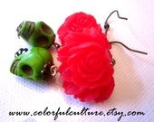 Dia de los Muertos - Day of the Dead  / Green Sugar Skull  Earrings and Red Flower Lotus Resin Cabochon
