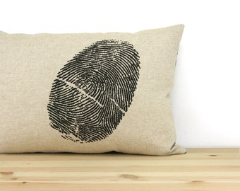 12x18 Thumbprint Decorative Pillow Case, Cushion Cover | Thumbprint Art in Black, Natural Beige and Geometric Greek Pattern | Modern Decor