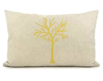 Tree pillow case in mustard yellow, grey, beige and geometric diamond back | 12x18 lumbar cushion cover | Modern and rustic decor