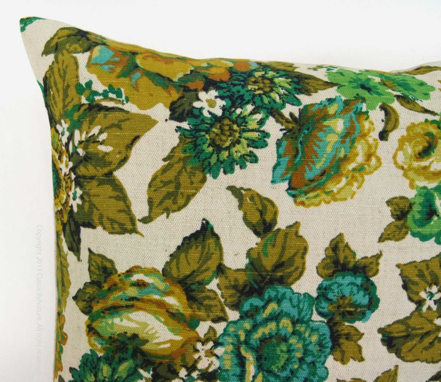 Throw Pillows Vintage Fabric : Floral pillow cover ? Vintage fabric ? Garden printed pattern in emerald, turquoise, yellow ...