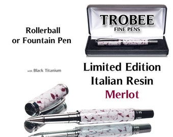 Limited edition Merlot rollerball fine hand made pen hand turned on lathe with Italian resin and black titanium gift for writer