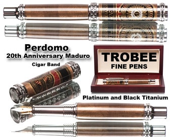 Special Luxury writing pen made with Perdomo cigar band (20th anniversary), platinum, black titanium, high quality, one of a kind