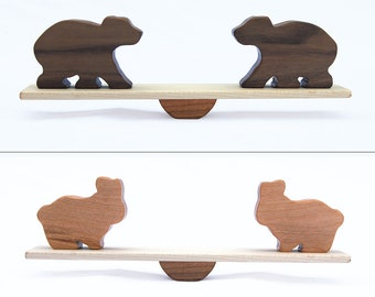 Animal Seesaw Wood Balancing Game // Classic Wooden Animals Toy // Select 2 Pairs from Elephant, Giraffe, Bear, Lion, Hippo, Bunny Shapes