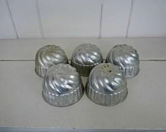 Vintage Tin Jello Molds-Set of 5