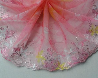 2 Yards Pink Tulle Lace Pink Floral Embroidered Printed Lace 7 Inches Wide