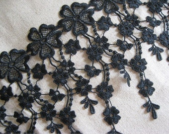 Fabulous Black Venice lace Floral Embroidery Teardrop Tassel Lace Trim 7.28 Inches Wide 1 Yard