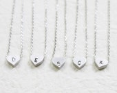 Bridesmaid Gift Set- Set of 5 Silver Initial Heart Charm Necklace - Personalized Initial - S2324-1