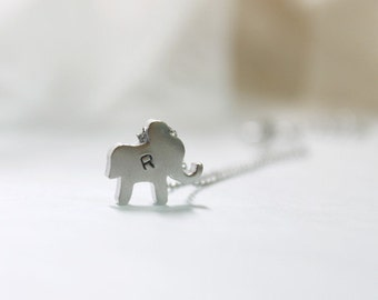 Personalized initial elephant Necklace - S2091 -3