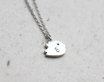Personalized initial silver Bird Necklace - S2310-1